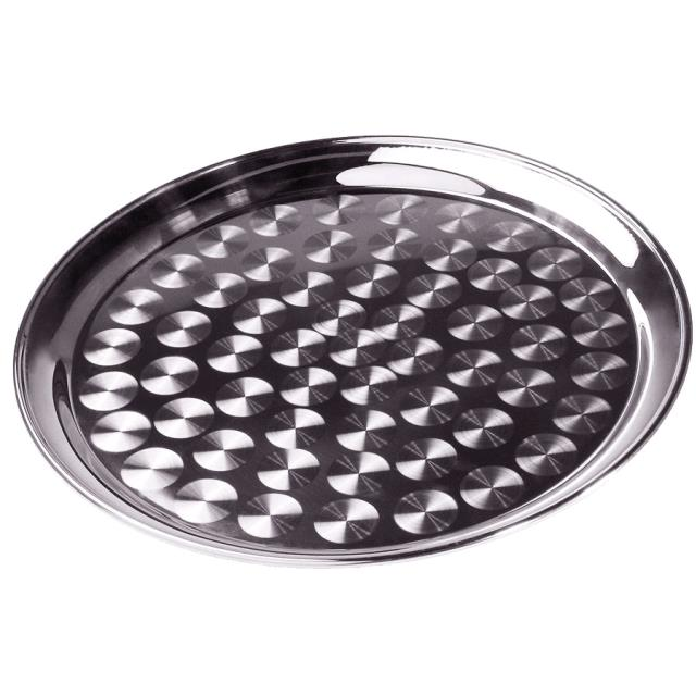 Where to find Serving Bus Tray 16  Round Swirl Silver in Chesapeake