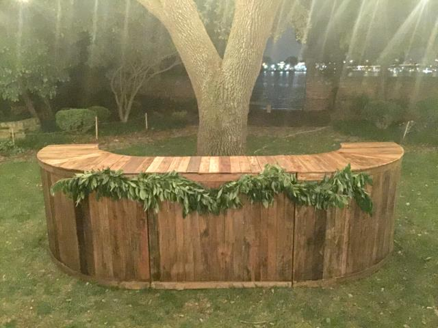 Where to find DARK Curved Wooden Pallet Full Bar in Chesapeake